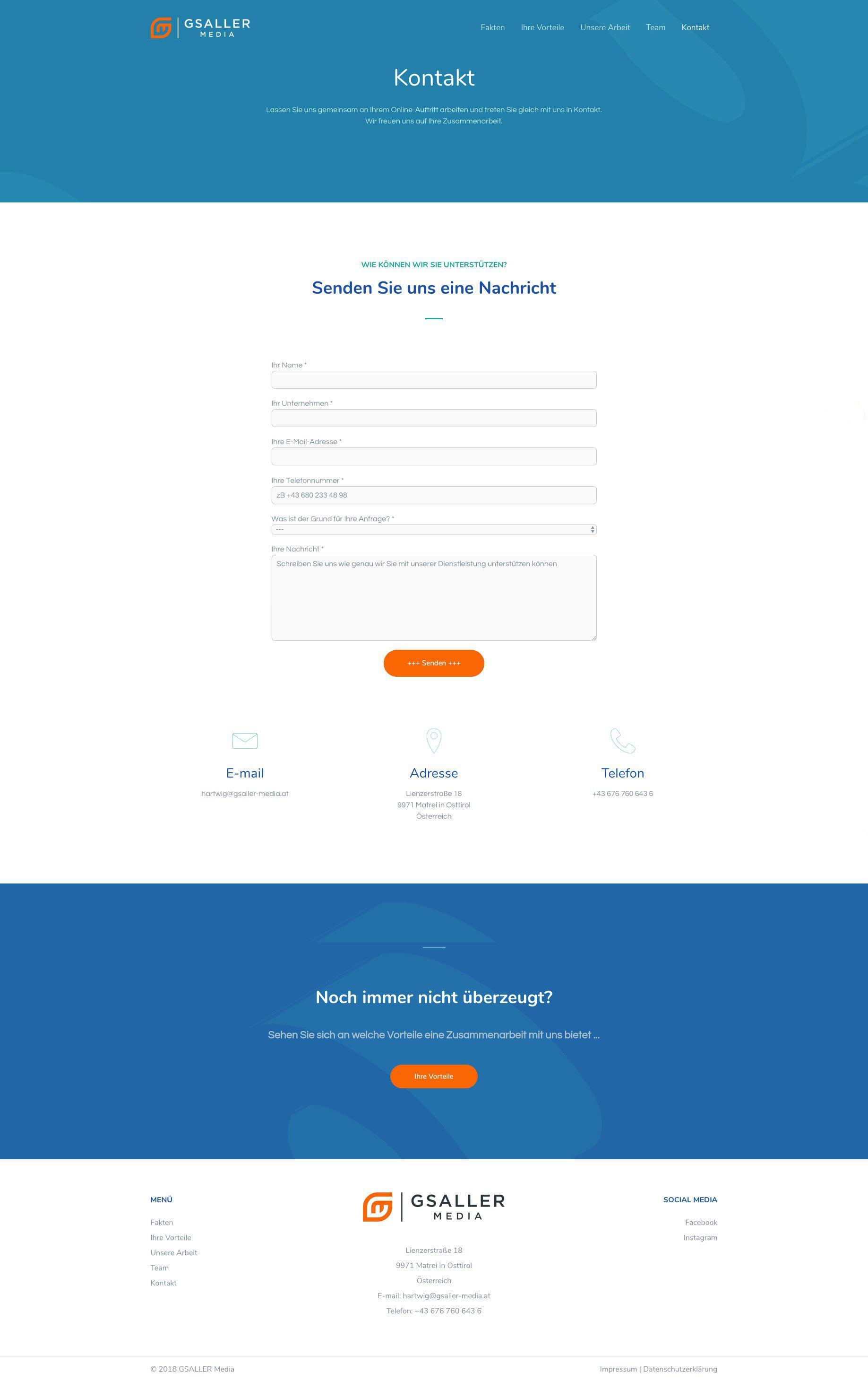 Gsaller Media Webdesign Agentur Seite Kontaktaufnahme
