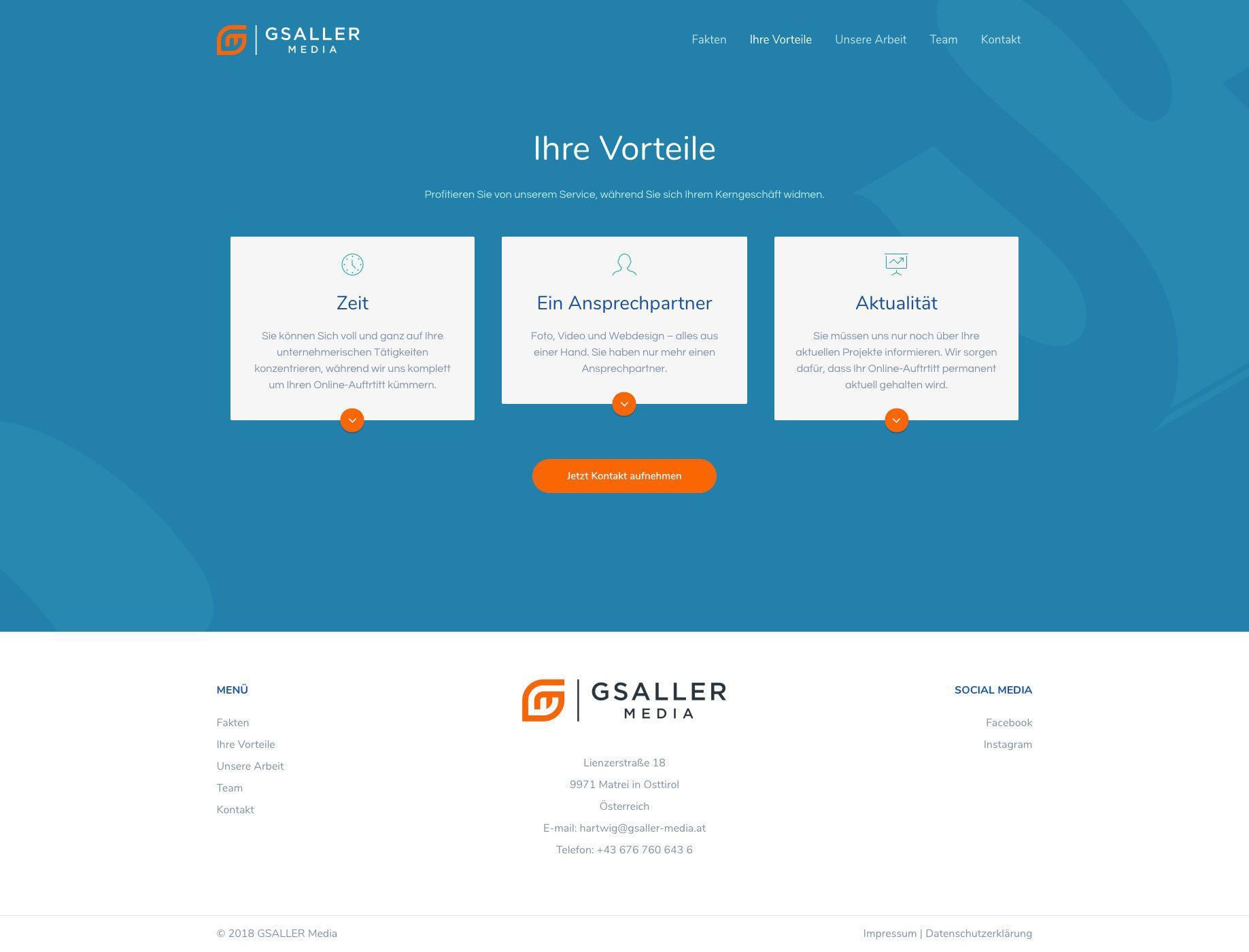 Gsaller Media Webdesign Agentur Seite Vorteile