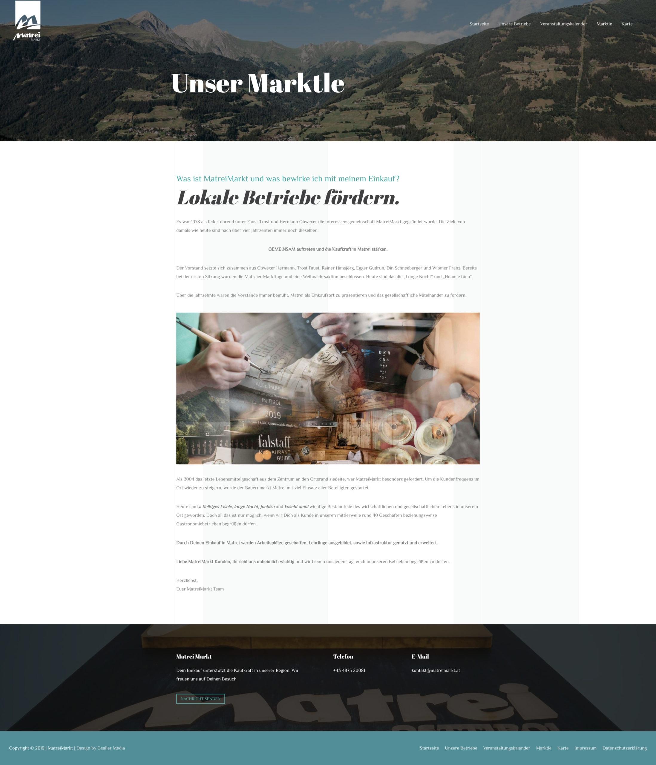 Matrei Markt Webdesign