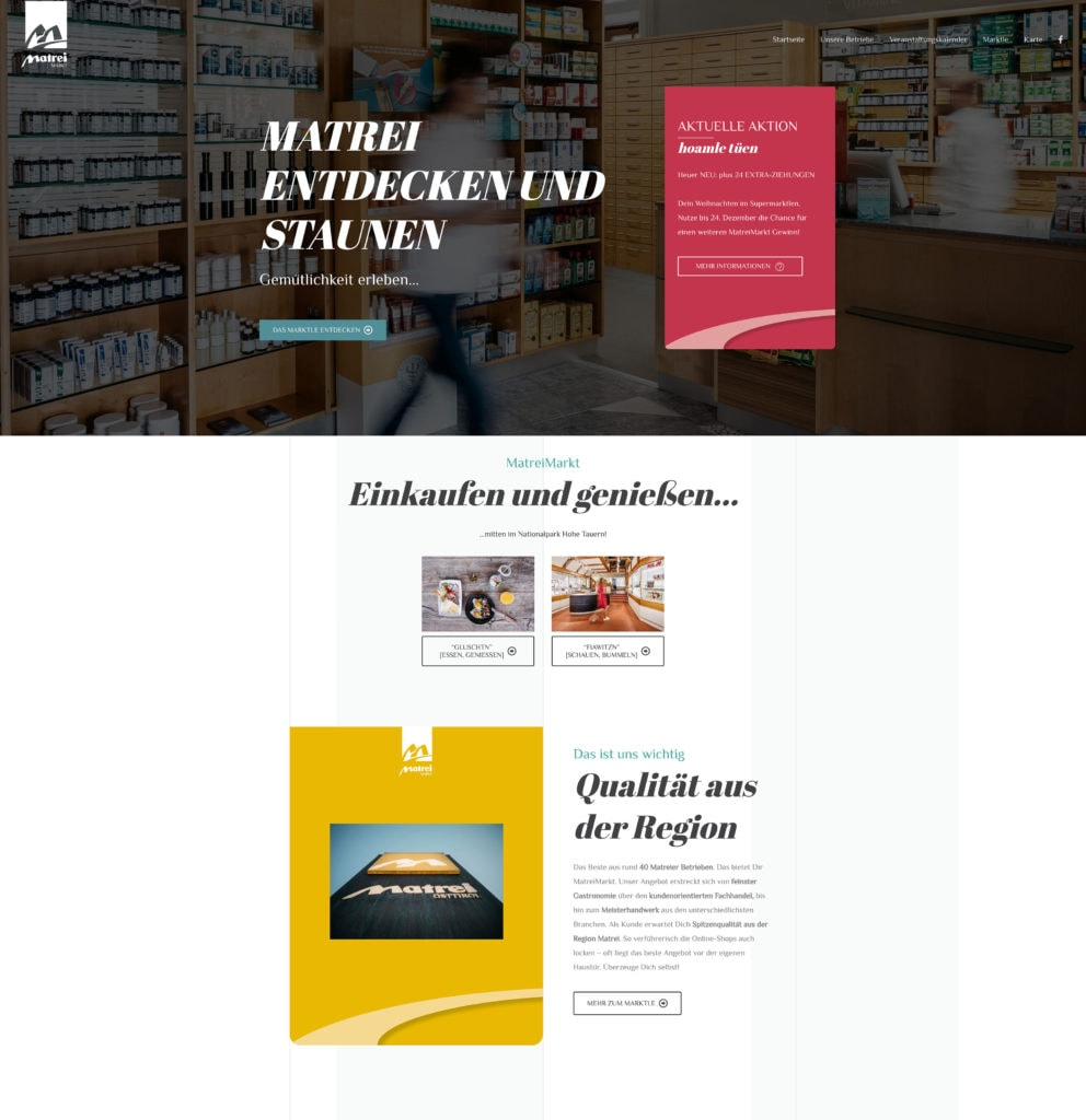 Matrei Markt Webdesign Header