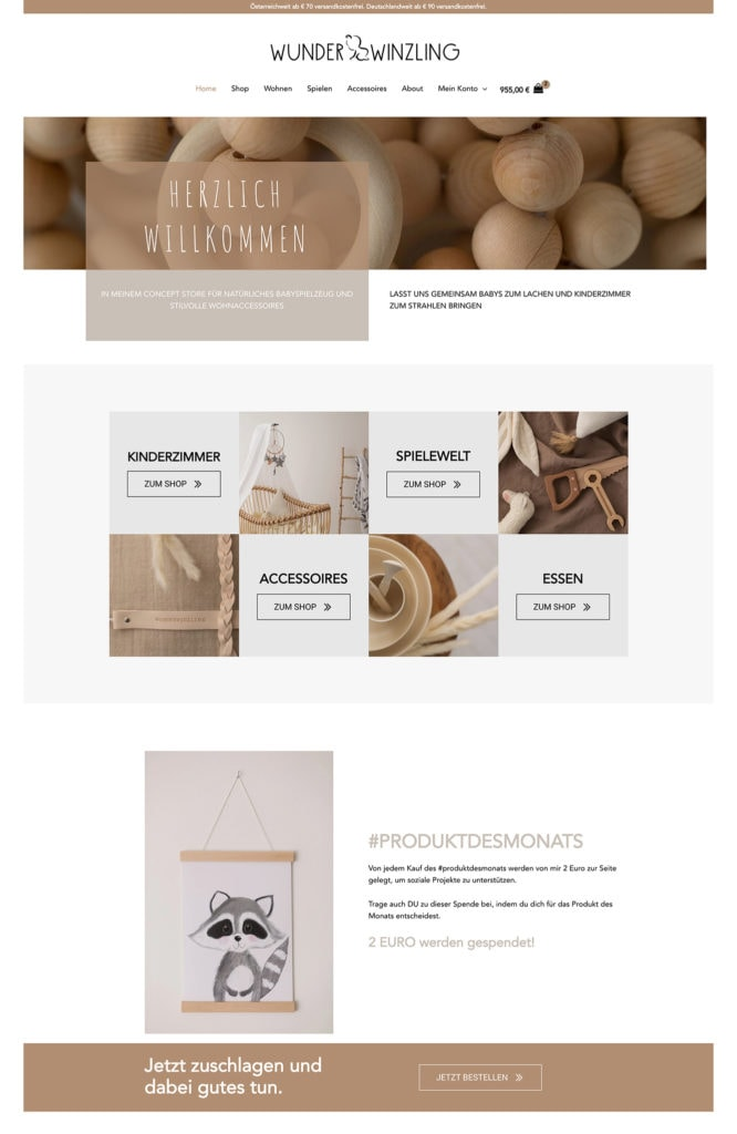 Webdesign Online Shop Wunderwinzling Header
