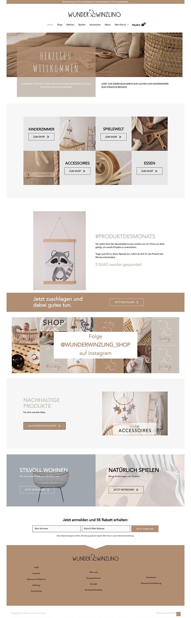 Webdesign Online Shop Wunderwinzling Startseite