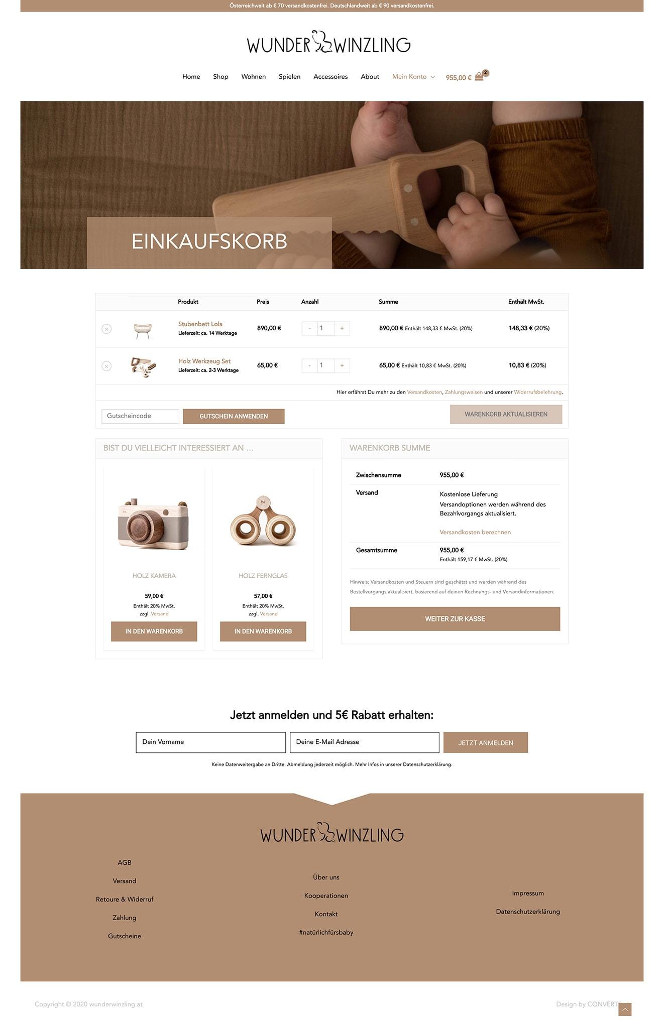 Webdesign Onlineshop Wunderwinzling Baby
