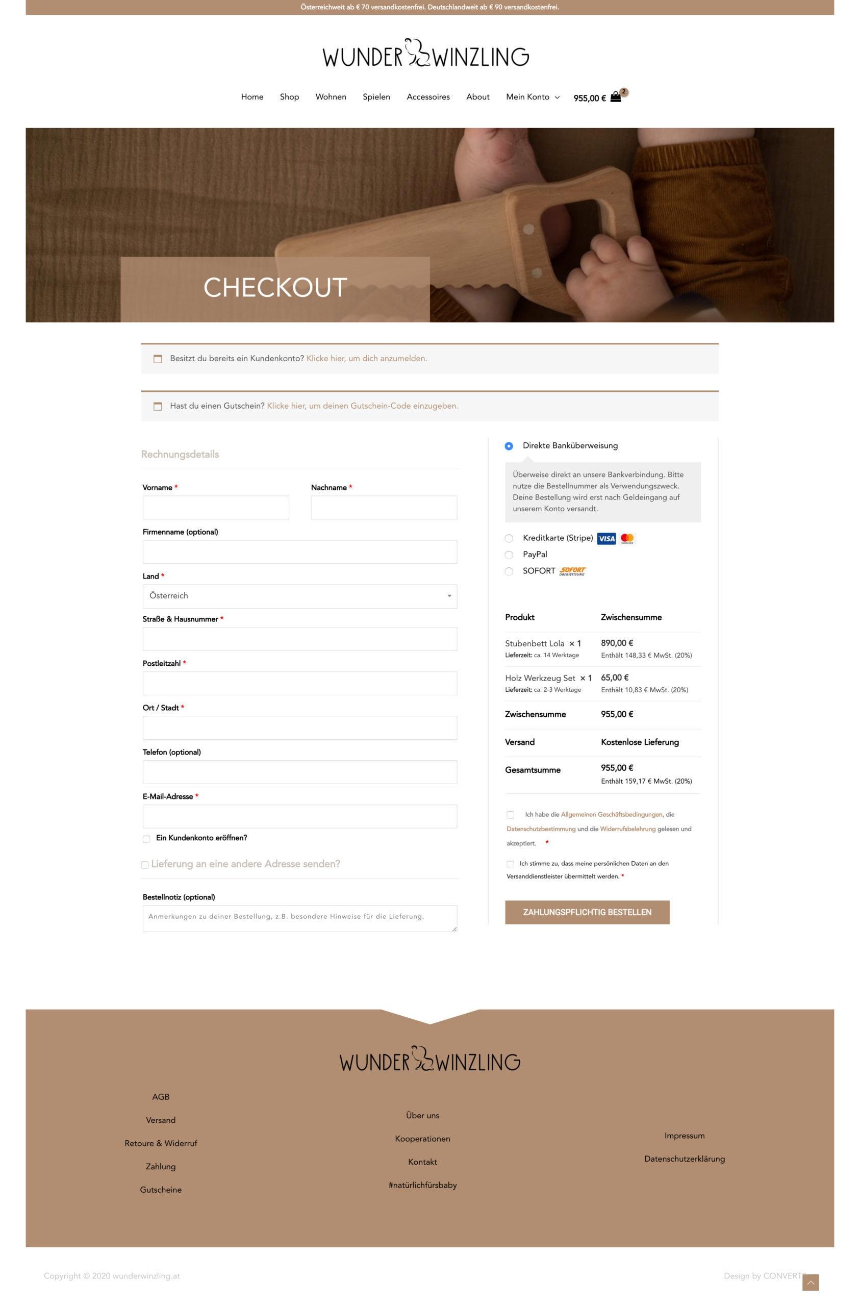 Webdesign Onlineshop Wunderwinzling Checkout